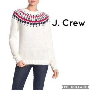 J. Crew Mercantile Fair Isle Sweater - White - Size Large